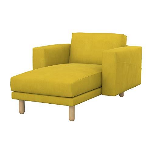 Soferia Bezug fur IKEA NORSBORG Freistehende Recamiere, Stoff Majestic Velvet Yellow