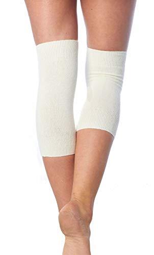 CzSalus Angebot: 4 Stück elastische Knie-Wärmer mit warmen Angora Wolle (naturfarben, One)