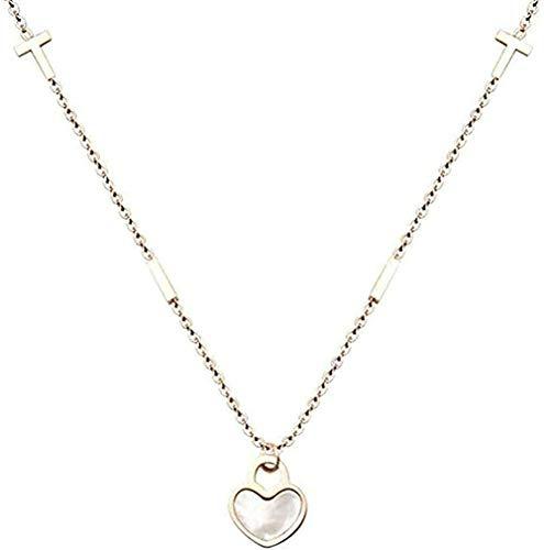 Collar Mujer Collar de barra cruzada Collar de concha de corazón de melocotón Mini Cruz de corazón Cadena de clavícula Accesorios de regalo creativo-Rose_Gold_40 + 5cm para Mujeres Hombres Niños Niñas