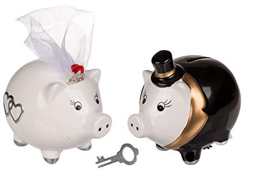 Bada Bing 2er Set Sparschwein Hochzeitspaar HBT Ca. 10 x 13 x 9 cm Sparschweine als Brautpaar Reisekasse Hochzeit Geschenk Geldgeschenk 92