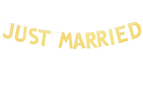 Just Married - Guirnalda de boda, color dorado