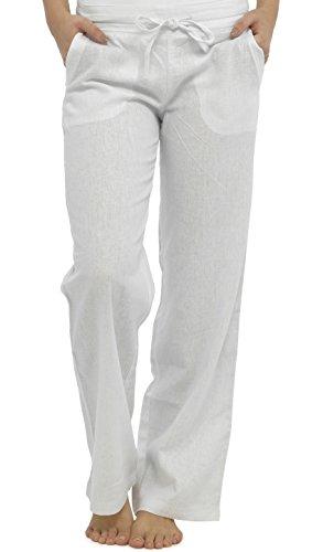 Pantalon en lin mélangé pleine longueur avec taille côtelée par Tom Franks - Blanc - 42