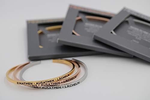 MEIN MANTRA by alexa Armreif - EINATMEN – AUSATMEN – LÄCHELN - Farben: Silber/Roségold/Gold (Silber, Größe XS-S (bis 16cm Handgelenkumfang))