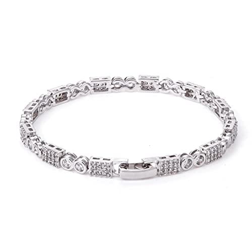 LYWER Pulsera de zircón de Cobre Ladies Micro Diamond Full Diamond Zircon Pulsera Regalo Personalizado ( Color : Silver )