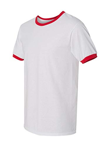 Gildan DryBlend 5.6 oz. Ringer T-Shirt, 2XL, WHITE/RED