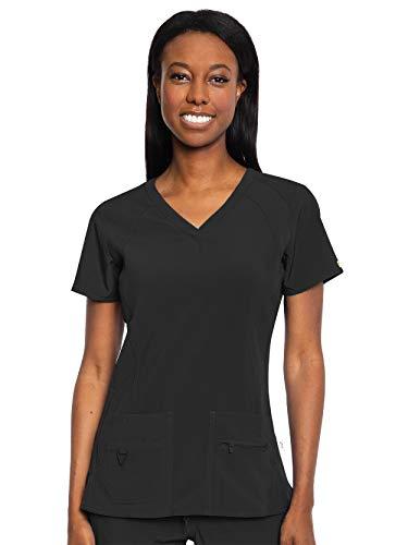 Med Couture Activate Women's V-Neck Racerback Scrub Top, Black, Medium