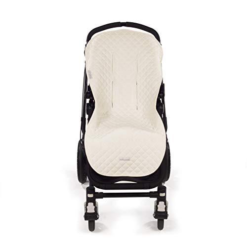 Pasito a Pasito. Funda silla Colección María de uso universal. Cubre silla de paseo de cochecito o bugaboo. Cubierta protectora suave y anti-sudoración. Color Beige.