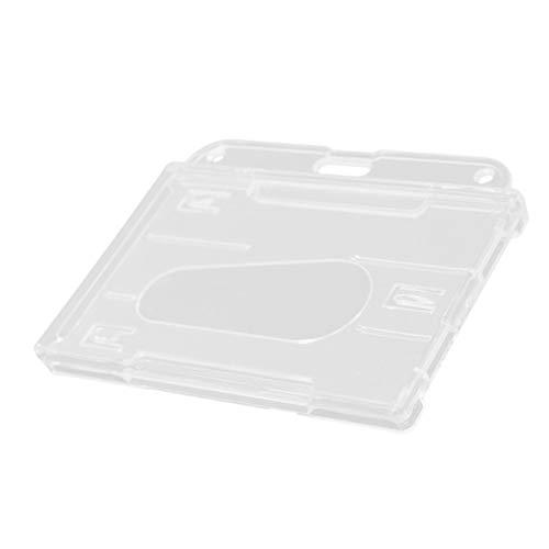 Logicstring 1 Uds, Tarjetero de plástico Duro de Doble Cara, Tarjetero de identificación Horizontal Transparente Transparente, Cubierta de Tarjeta, Muesca de Pulgar de fácil Acceso