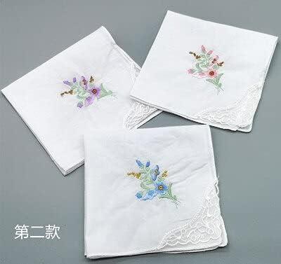 SushiSwap 3pcs Embroidery Flower White Handkerchiefs Ladies Lace Handkerchief Women Cotton Towels Chustki Zakdoek Fazzoletto Mouchoir H09 - See Chart - 541098