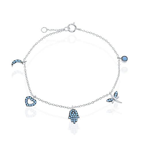iJewelry2 Sterling Silver Turquoise Crescent Heart Hamsa Hand Dragonfly and Circle Charm Bracelet