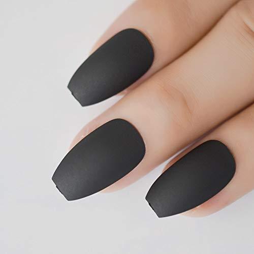 CoolNail Coffin Nail Tips Classic Matte Black Gray Ballerina False Nail Full Nails Flat Top Fake Nails Tips