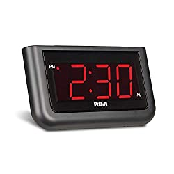 RCA Digital Alarm Clock - Large 1.4 LED Display with Brightness Control and Repeating Snooze, AC Powered – Compact, Reliable, Easy to Use Black