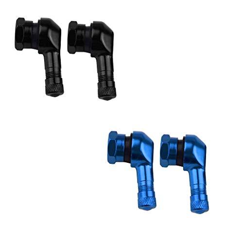 BLTR Seguridad 4pcs 90 ° Azul y Negro CNC Aluminio Herramienta de reparación de la Motocicleta 11,3 mm Llanta Neumático Robusto