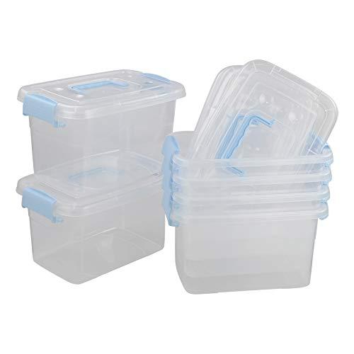 Callyne - Set di 6 scatole in plastica trasparente con manico blu, 5 l