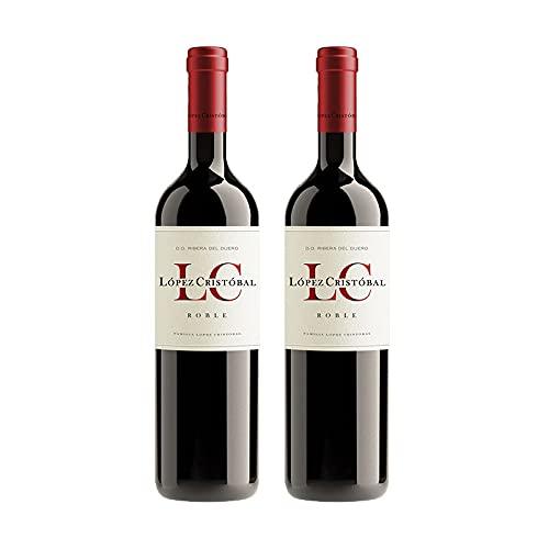 Vino Tinto Lopez Cristobal Roble de 75 cl - D.O. Ribera del Duero - Bodegas Lopez Cristobal (Pack de 2 botellas)
