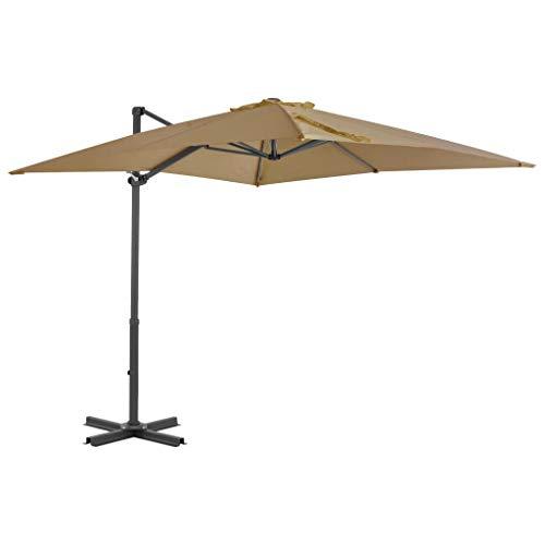 Festnight Sombrilla Parasol Voladiza para Terraza Jardín Playa Piscina Patio, Diseño Inclinable y Giratorio 360 Grados Gris Topo 250x250 cm