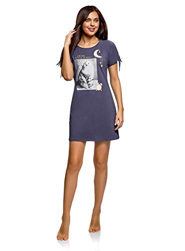 oodji Ultra Mujer Vestido de Estar por Casa con Estampado, Azul, ES 42 / L