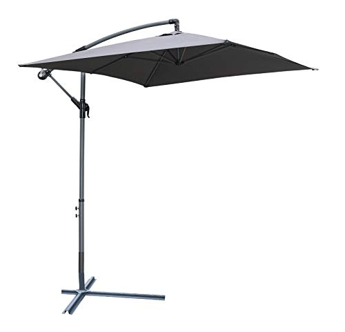 Pure Home & Garden Hochwertiger Ampelschirm Horizon 300 x 200 cm in anthrazit, neigbar, 360 Grad drehbar, UV-Schutz 40 Plus, inklusive Plattenständer