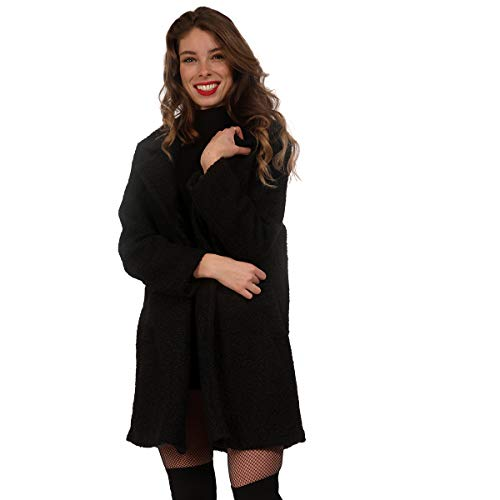 YC Fashion & Style Damen Mantel in Curly Woll-Optik Trenchcoat Stil Kurzmantel für Herbst und Winter One Size Made in Italy (One Size, Schwarz)