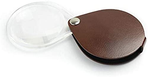 Dceer Oval Folding Portable 3.5X Lupe mit Holsterabdeckung zum Lesen und Prüfen (Farbe   braun)