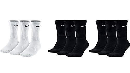 Nike 9 Paar Herren Damen Socken SX4508 wei� oder schwarz oder wei� grau schwarz, Sockengr��e:46-50, Farbe:1 x wei� 2 x schwarz