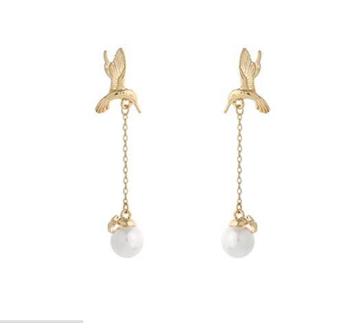 HANGO fashionable and versatile creative earrings, hot selling small fresh bird earrings, long tassel pearl earrings, sweet acrylic earrings, suitable for Valentine's Day gifts, birthday parties