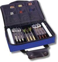 Darttasche MASTER-PAK - mit Ordnung zum Erfolg, Farbe blau Luxustasche für echte Profis.Innen 5-fach unterteilt für 2-3 Set montierter Darts und vielen Fächern für umfangreiches Zubehör. (ohne Inhalt)