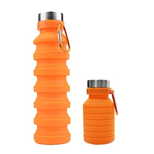 ShengmingMaoyi Collapsible Water Bottle Portable Silicone BPA-Free Leak Proof 550ml/18oz Reusable Lightweight for Travel (Orange)