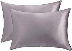 Sunflower Two-Pack Satin Pillowcases for Hair & Facial Skin to Prevent Wrinkles Hidden Zipper Queen Size Gray