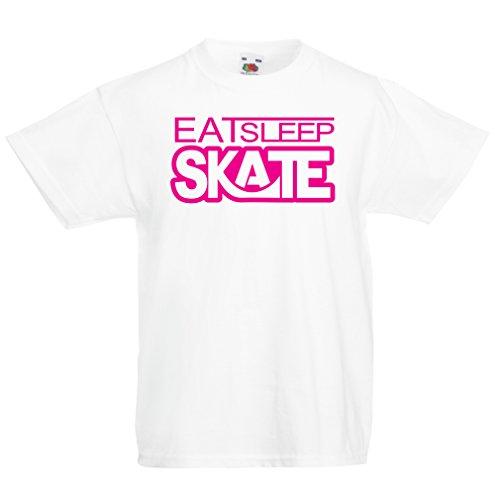 lepni.me Kinder Jungen/Mädchen T-Shirt Eat - Sleep - Skate - für Skater, Skate Longboard, Skateboard Geschenke (9-11 Years Weiß Magenta)