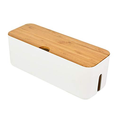 Cabilock Caja para cables para la gestión de los cables, organizador de cables, caja para cables con tapa de madera (blanco)