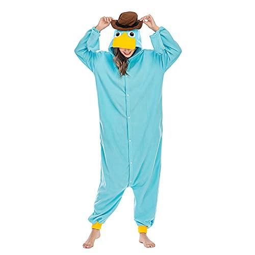 Wishliker Unisex Adult Onesie Pyjamas Platypus Christmas Costume SkyBlue