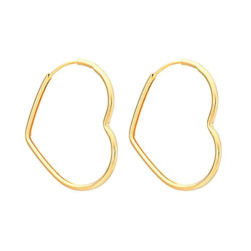 Brinco grande em forma de coração folheado em ouro 18k