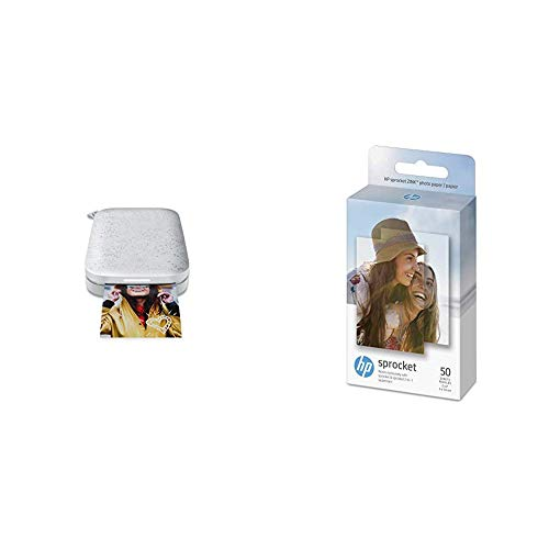 """HP Sprocket Portable Photo Printer (2nd Edition) – Instantly print 2x3"""" sticky-backed photos from your phone – [Luna Pearl] [1AS85A] and Sprocket Photo Paper, 50 Sheets"""