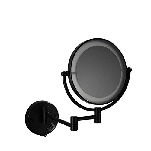 YASEking Espejo de baño cosmética Negro 8 Pulgadas de Maquillaje LED Espejo USB de Carga con la luz del Espejo telescópico 3 aumentos de Pared Espejo de Pared de baño