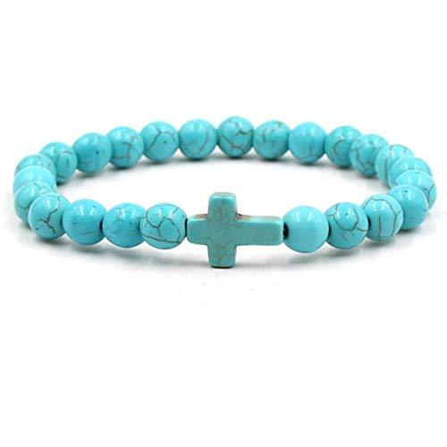JJDSL stenen armband, blauwe punk kruis mannen natuursteen armband & Bangle blauwe kraken armband bedeltje sieraden armband cadeau voor jongen