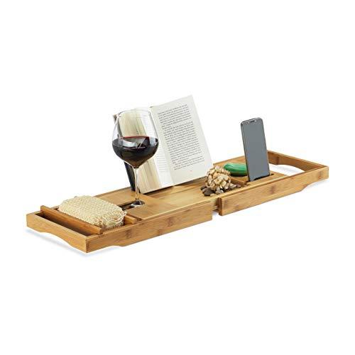 Relaxdays Bandeja para Bañera Extensible con Atril, Bambú, Beige, 19 x 107.5 x 23 cm