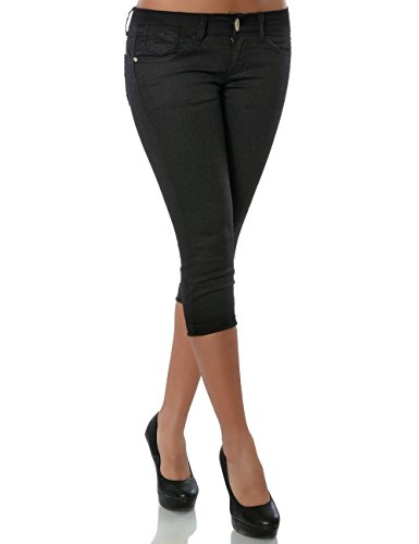 Damen Capri Jeanshose Kurze Sommerhose Push-Up Stretch DA 15547 Schwarz 36 / S