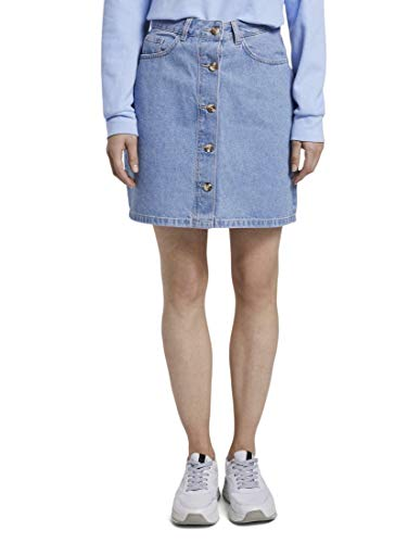 TOM TAILOR Denim Damen Röcke Mini Jeansrock in A-Linie Used Mid Stone Blue Denim,XL,10119,6000
