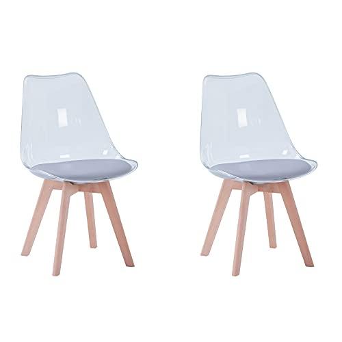 BenyLed Juego de 2 sillas de Comedor de Estilo escandinavo, diseño Retro, sillas Laterales de acrílico Transparente, Silla de Cristal con cojín tapizado de PU (Gris)
