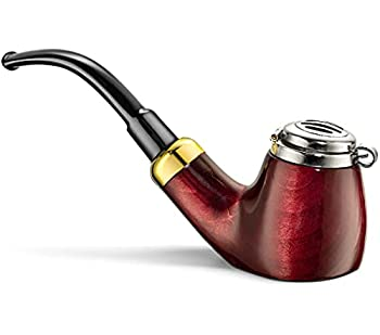 Mr Brog Full Bent Smoking Tobacco Pipe - Handmade Model No  21 Old Army Mahogany - Pear Wood Roots - Like Briar - Smoking Bowl Pipe for Herbs & Tobacco with Wind Guard
