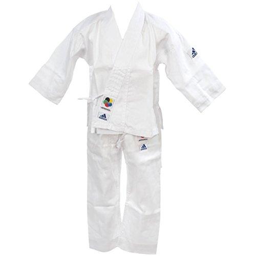adidas Karateanzug K200E Kids Kinder Judo Anzug (inkl. Gürtel), Weiß, 120-130 cm