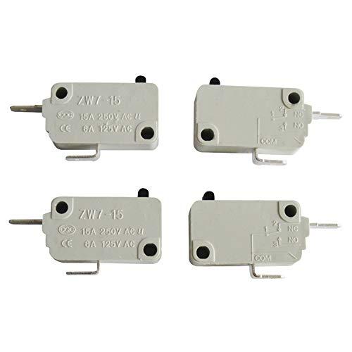 mxuteuk 4 piezas para DR52 16A 125/250V universal microondas horno puerta micro interruptor NC (normalmente cerrado) ZW7-15-W/NC
