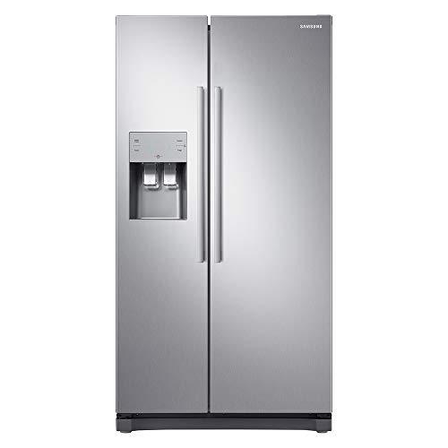 Samsung RS50N3513SL Freestanding American Fridge Freezer with Digital Inverter Technology, Water and Ice Dispenser, 501L, 91cm wide, Clean Steel