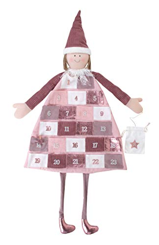Rayher 46455258 Adventskalender zum Befüllen, Stoff, rosé, 118 x 53 cm, Adventskalender Kinder, Adventskalender Mädchen, genäht aus unterschiedlichen Stoffarten in Weiß und Rosatönen