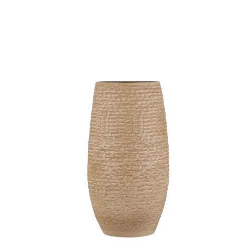 MICA Decorations Deko Vase Milos handgemacht - H 50 x Ø 26 cm - Blumenvase - Bodenvase hoch - Hoher Übertopf (Creme)