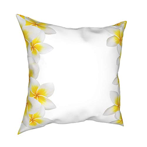 Cap Hat Hawaiian Decorations Collection Frangipani Blossom Exotic Nature Garden Plumeria Flower Frame Relaxation Yellow White 12'X12' 16'X16' 18'X18' 20'X20' Pillow- No Inserts Included