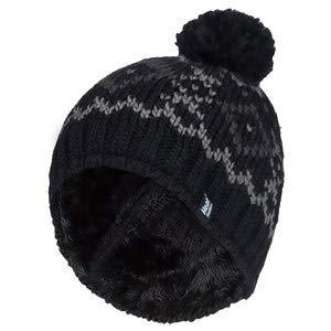 HEAT HOLDERS - Hombre Invierno Termico Gorro con pompón con Forro Polar (One Size, Black/Charcoal)