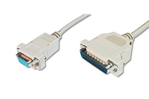 DIGITUS Pralleles Drucker Kabel D Sub 25 zu D Sub 9 Stecker zu Buchse 30m Anschluss Kabel Beige