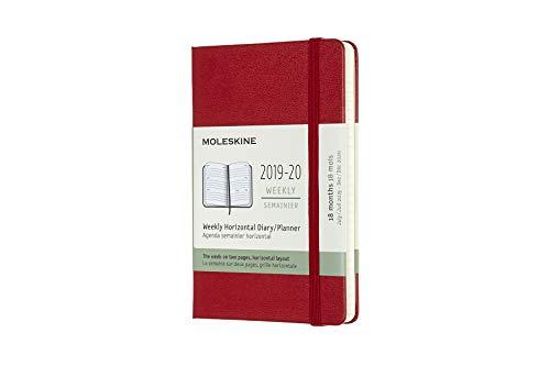 Moleskine Classic 2019-2020 - Agenda semanal, tapa dura, bolsillo (8,9 x 14 cm), color rojo escarlata